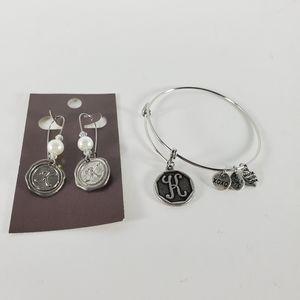 K Initial Fashion Jewelry Lot Earrings & Bracelet